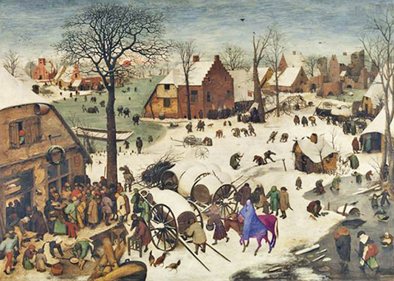Peter Brueghel the Elder - The Census at Bethlehem, Royal Museum of Fine Arts, Brussels, Belgium, 1566;  the lower middle of the painting shows Joseph leading Mary on a donkey with an ox alongside heading to the census office in Bethlehem.