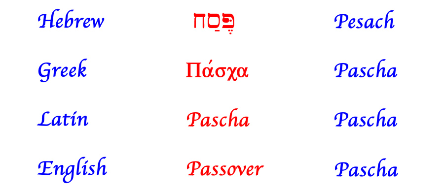 The word Passover in the biblical languages.